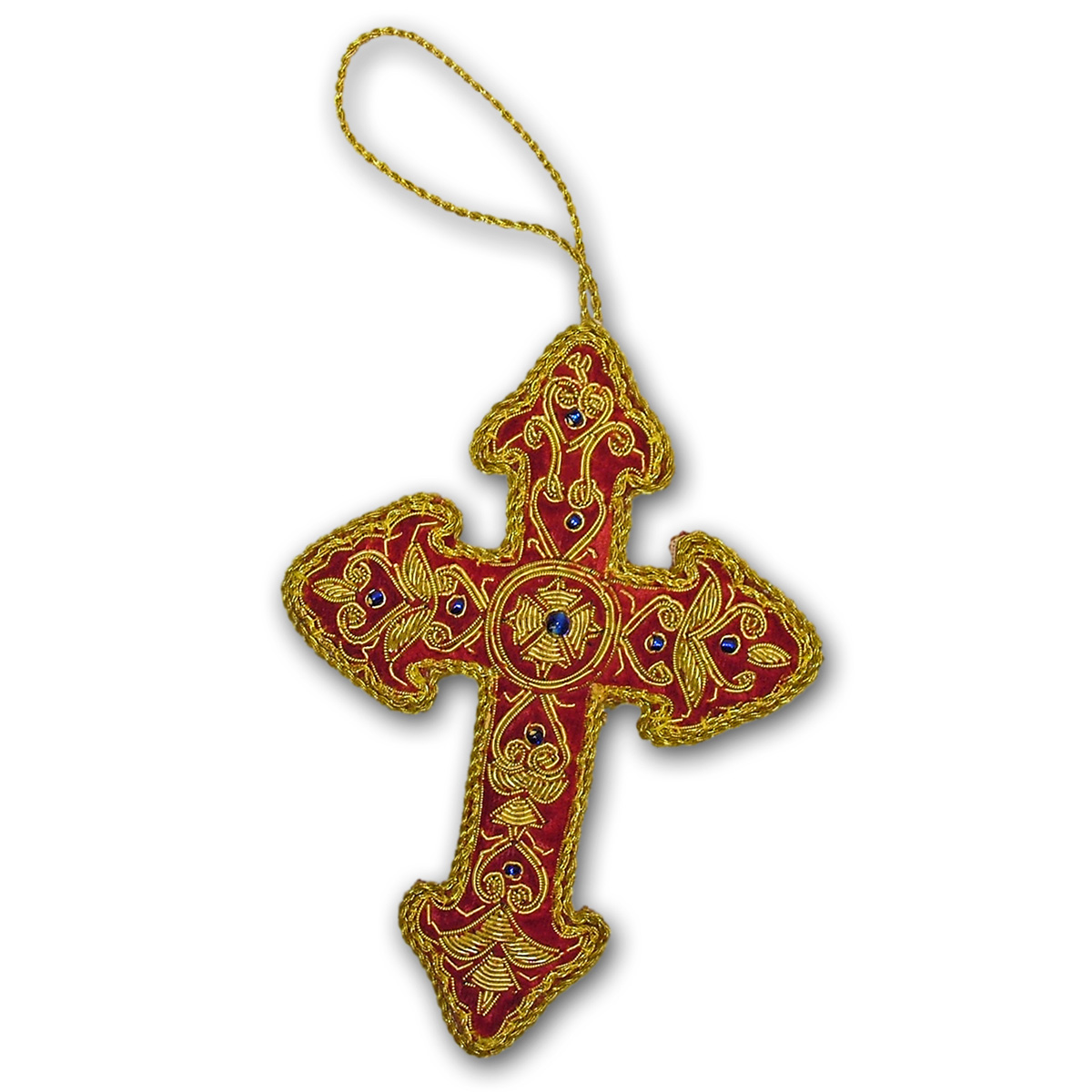 Embroidered christmas ornaments - Medieval Cross Tree Decoration An Embroidered Fabric Christmas